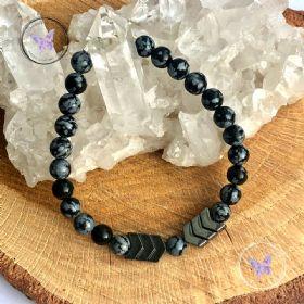 Snowflake Obsidian & Hematite Arrow Bracelet